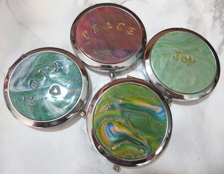 Alcohol ink purse mirrors