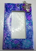 Alice in Wonderland white rabbit switchplate cover with alcohol inks
