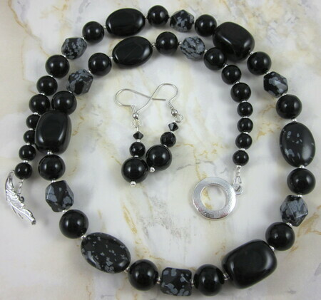 Black onyx and snowflake obsidian necklace
