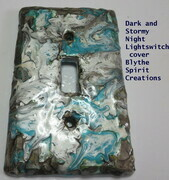 Dark and stormy night hand-painted lightswitch cover