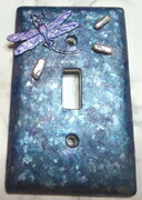 Dragonfly light switch cover with genuine pearls
