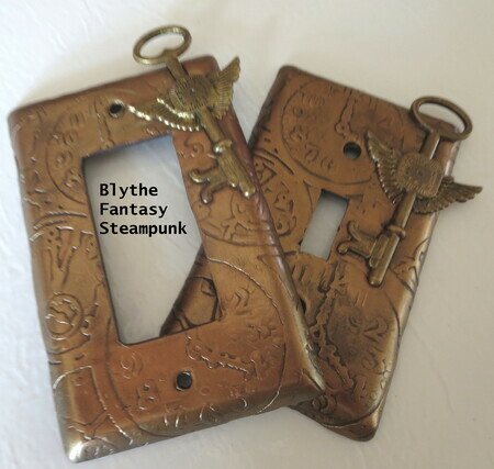 Flying keys on steampunk clock background