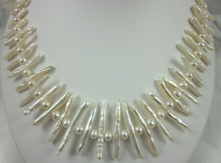 Freshwater white toothpick pearl necklace with pearl roundel spacers