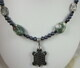Hematite turtle (honu) ocean jasper and pearl necklace
