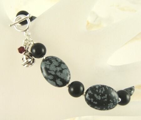 One red rose - black onyx and snowflake obsidian bracelet