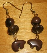 Bronzite and mahogany jasper bear earrings