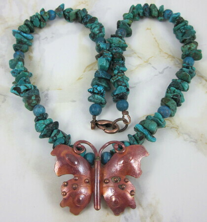 Copper butterfly turquoise necklace