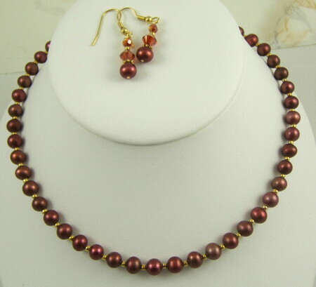 Pomegranate pearl necklace set