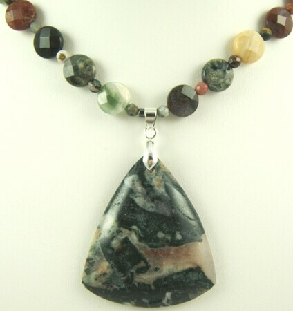 Green blood jasper necklace