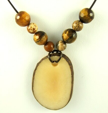 Tagua nut tiger's eye pendant