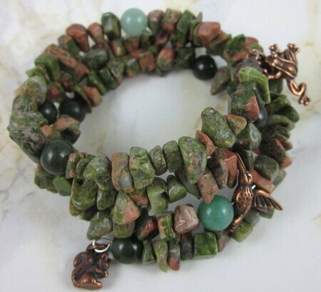 Forest Friends - unakite memory wire bracelet