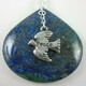 Lapis lazuli with chrysocolla teardrop pendant with pewter peace dove