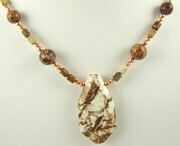 Lemon chrysoprase picture and leopardskin jasper necklace