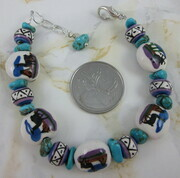 Llama bead bracelet with turquoise chips