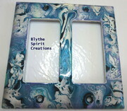 Marine, turquoise, and pearl two-hole modern lightswitch cover