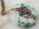 Moss agate druzy gemstone pendant with copper OM