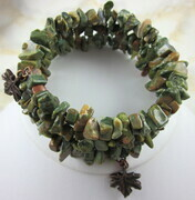 Ocean jasper memory wire bracelet with red copper maple leaves