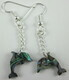 Paua shell dolphin earrings with silver-plate chain