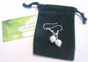 Pearl earrings with Bali sterling silver roundels