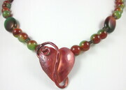 Rainbow sardonyx copper  butterfly leaf necklace