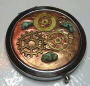 Steampunk purse mirror with genuine turquoise chips