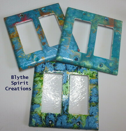 Symphony of blues hand-painted lightswitch covers
