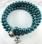 Teal glass pearl puppy memory wire bracelet