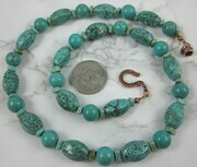 Turquoise necklace with Bali copper clasp
